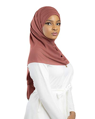 Hijab zum Einfädeln, komplett Crêpe-Chiffon, mit integrierter Mütze Gr. Einheitsgröße, rostfarben