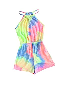 Toddler Girls Summer Clothes Tie-dye Romper Bodysuits Jumpsuit One-Piece Kid Summer Outfit Set