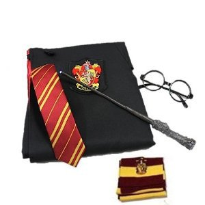 子供用 5点セット ハリーポッター ローブ+ネクタイ+魔法杖+マフラー+メガネ コンプリートコスプレ Harry Potter グリフィンドール 130cm~140cmサイズ
