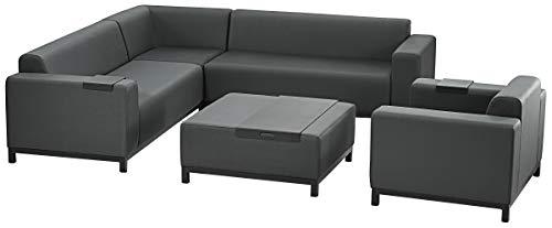 Dehner Gartenmöbel Lounge Den HAAG,3-teilig,Aluminium/Textilien,dunkelgrau