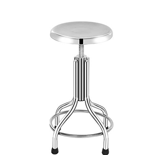 BAR STOOL WYZQQ RVS Werkbank, Schroef Lift Kruk Laboratorium Kruk Voor Kruk Roterende Backless Counter Hoogte Kruk