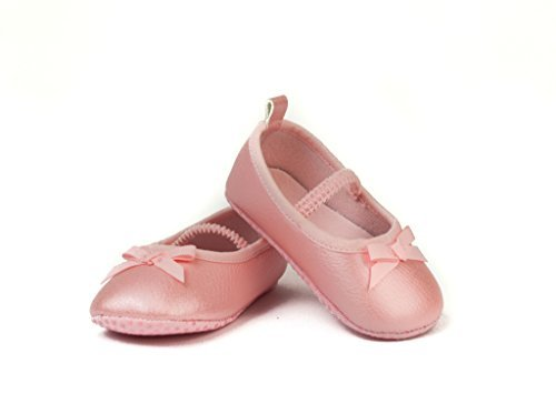 FRILLS Light Pink Ballet Flat Shoe for Newborns and Toddlers- The perfect versatile shoe for your ballerina princess! (0-6 M / 10cm - length, 6cm - width)