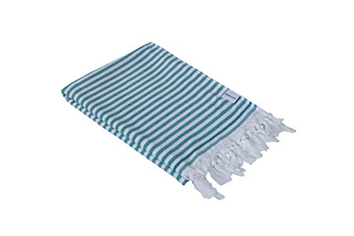 InfuseZen Turkish Towel, Thin and Absorbent Peshtemal Beach Bath Towels 100% Cotton Oversized Hammam Fouta, XL 71 inches x 37 inches Lightweight Pool, Gym, Travel Towel, Terry Cloth Backing (SeaGreen)