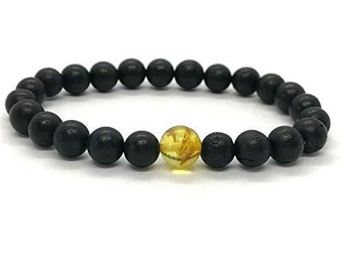 BOSSA NOVA® Premium Herren Bernstein-Perlen Armband schwarz 10mm - 100% Baltisches Bernsteinarmband | in hochwertigem Geschenk-Etui | Naturstein Bracelet - elastisches Perlenarmband