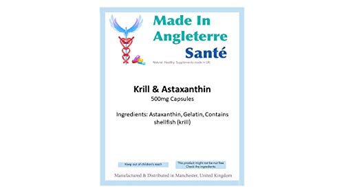 ## MadeInAngleterre Sante Supplements ## Pack of'Krill Oil & ASTAXANTHIN' 500mg Capsules (Made in UK) [Several Sizes Available] (120)