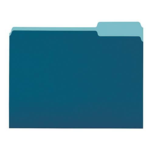 AmazonBasics File Folders, Letter Size, 1/3 Cut Tab, Teal, 36-Pack