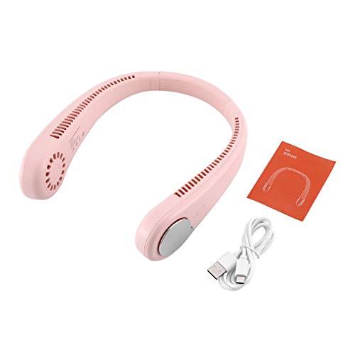 CandyTT Mini Ventilador de Cuello Colgante USB, Ventilador pequeño portátil sin Hojas, Mini Ventilador de Cuello Colgante, Ventilador eléctrico Ultra silencioso Perezoso (Rosa)