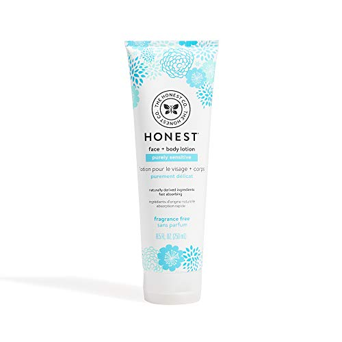 The Honest Company Purely Sensitive Face + Body Lotion   Dermatologist Tested   Fragrance Free   Body Lotion for Sensitive Skin   Baby Lotion   Calendula & Aloe   8.5 Fl Oz