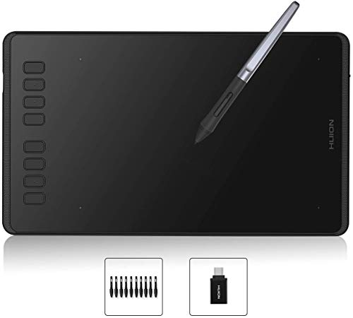HUION Tableta Gráfica Inspiroy H950P, con 8 Teclas Express Personalizables, Lápiz Digital sin Batería, Compatible con Windows, Mac OS, Teléfono Android