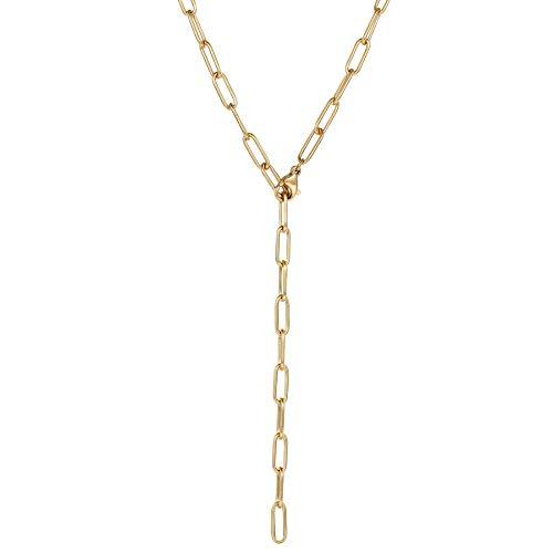 Happiness Boutique Damen Gliederkette in Goldfarbe Großgliedrige Halskette Y aus Edelstahl