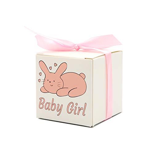 ChicResult - Caja de regalo 'Baby Girl' – 25 cajas de regalo + 25 cintas de regalo, ideal como elegante caja de regalo para bebés en bautizo y fiesta de bebé