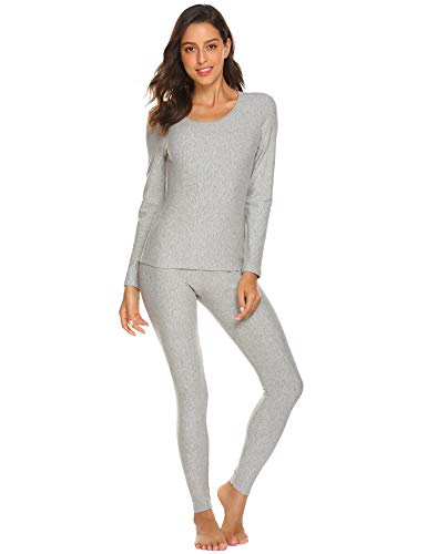 Adoeve Womens Base Layer Set Long Sleeves Thermals Crew Neck Lounge Wear (Light Gray, XX-Large)