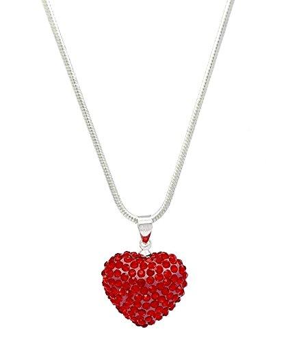 De cristal de Shimla rojo con forma de corazón con brillantes de...