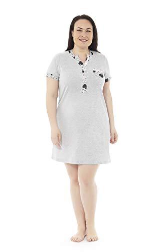 Mabel Intima Camicia da Notte Donna Plus Size. Camicia da Notte a Maniche Corte con Stampa a Nuvole. Taglia 58. 95% Poliestere-5% Spandex Tessuto Medio, Caldo e Morbido