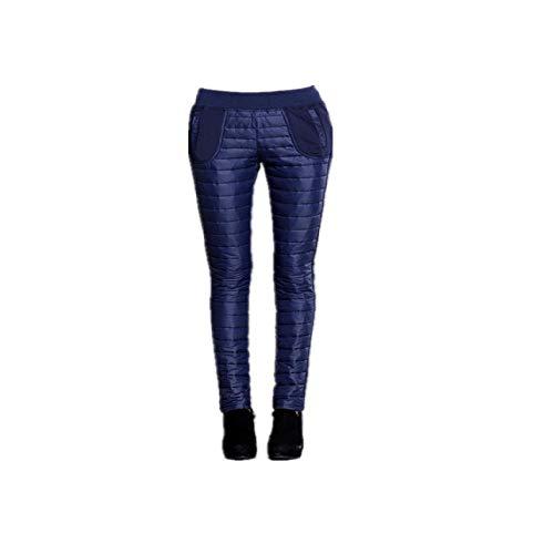 NHFGF Doppelseitige Daunenhose, Baumwolle, Dicker Damen, hohe Taille, Bleistifthose, Winddicht Gr. 5X-Large, königsblau