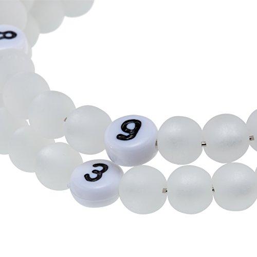 Stillarmband White – Praktisch für stillende Mütter sowie ein ideales Geschenk zur Geburt! (Cracked-/Glaswachsperlen) - 2