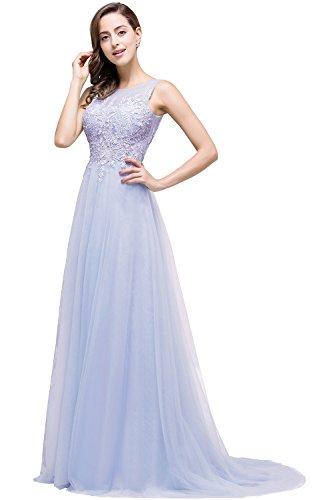 Damen Elegant Spitze Abendkleid Partykleid mit Spitze Rückenfrei Flieder 32