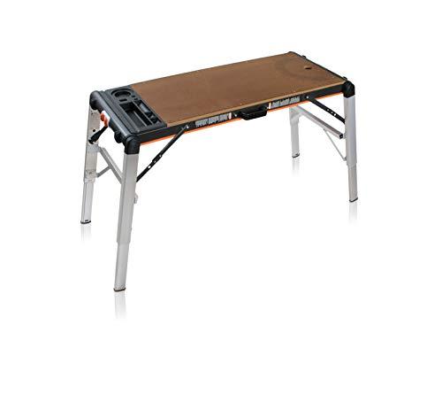 Smarty Tavolo da Lavoro Pieghevole Professionale Multifunzione per Fai Da Te | Banco da Lavoro e Trabattello Richiudibile Portatile in Alluminio, Acciaio e MDF | Portata fino a 240 Kg