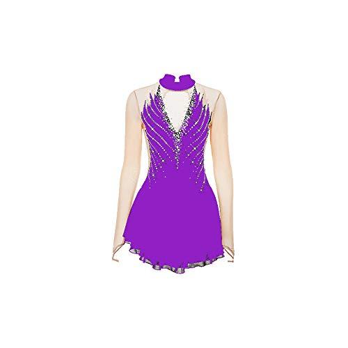 HYQW Eiskunstlauf Kleid Echte Eislaufwettbewerb Für Erwachsene Kinderbekleidung Leistungskleidung Mehrfarbige Handgefertigte,Purple-XS