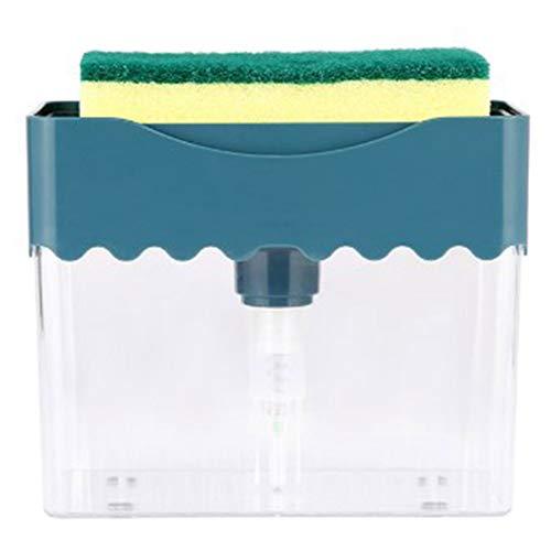 ukoudadao9haowanh 2 in 1 Soap Dispenser Sponge Holder Countertop Soap Pump Dispenser With Sponge for Bathroom and Kicten(Deep Blue)