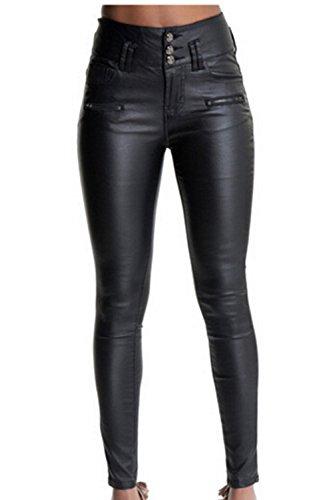 Sopliagon Pantalones De Piel Sintética De Tres Botones Elásticos De PU para Mujer Negro XL