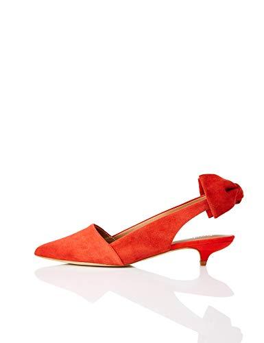 find. Suede Kitten Heel Zapatos de Talón Abierto, Rojo Red, 39 EU