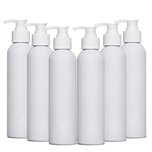 8 oz white PET cosmo round bottle with 28-410 neck finish Pump (6 Pack)