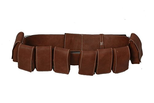 Wellgift Cinturón de grasa Boba con 8 bolsas de réplica para hombre, color marrón, piel sintética, para Halloween, disfraces, cosplay, accesorios
