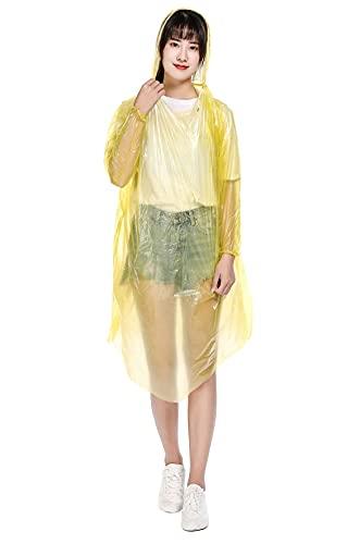 KCLONAZS 10Pcs Chubasquero Impermeable Desechable Adulto Ligero Portátil Poncho de Lluvia para Emergencia con Capucha y Mangas Largo (Color : Amarillo, Tamaño : Un tamaño)