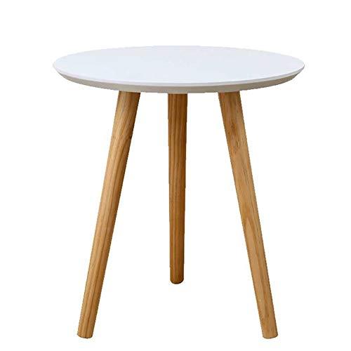 Beistelltisch Tische Moderne Kaffeetische Runde Seite Weiß für Kaffee, Snack, Tablet (Size : 60×60×61.5cm)
