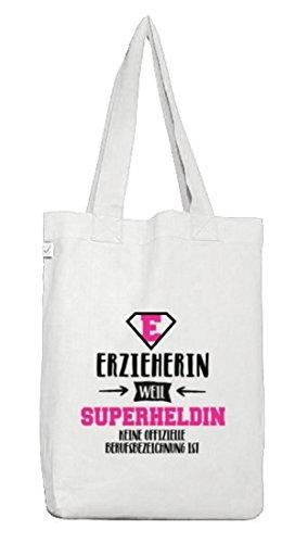 ShirtStreet Geburtstags,-Jubiläums,-Abschiedsgeschenk Jutebeutel Earth Positive Erzieherin - Superheldin, Größe: onesize,White