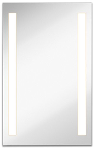 Lighted LED Frameless Backlit Wall Mirror | Polished Edge Silver Backed Illuminated 2 Frosted Line Vertical Mirrored Plate | Commercial Grade | Vanity or Bathroom Hanging Rectangle (23.5'W x 37.5'H)