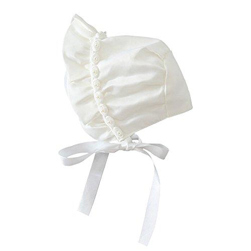 YOPINDO Baby Bonnet Lovely Newborn Toddler Girls Sombreros para el Sol Princess Style Hats Infantiles Rose Ribbon Bonnet with Chin Strap Cerrado para la Espalda Sombrero (0-12 Mes)