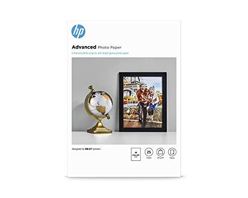 HP Advanced Glossy Photo Paper, Q5456A, 25 hojas de papel fotográfico satinado avanzado, compatible con impresoras de...