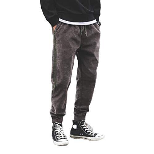 Pantalones Casuales Retro para Hombre, Pantalones de harn de Cintura elstica con cordn de Corte Holgado de Pana a Rayas Laterales a la Moda 4X-Large
