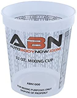 Best ABN Clear Plastic Mixing Cup 12-Pack 32oz Ounce / 946mL Milliliter Container for Paint, Activators, and Thinner Review