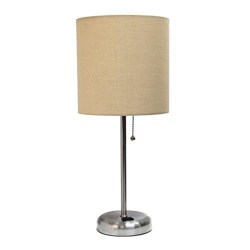 Limelights LT2024-AOW Lámpara de mesa con pantalla de tela y enchufe de carga, Contemporáneo, 19.29,…