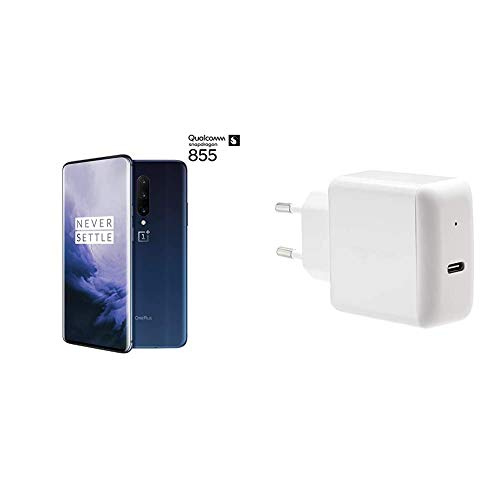 OnePlus7 Pro - Smartphone, 12GB+256GB EU GM1913, Azul (Nebula Blue) + Amazon Basics Cargador para Pared USB de Tipo C 3.0, 30W, 1 Puerto, EU/Blanco
