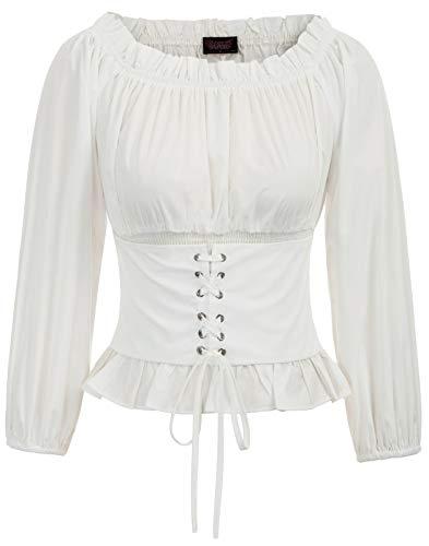 SCARLET DARKNESS Damen Renaissance Gothic Tops Off-The-Shoulder Langarm Peasant Bluse Oberteile L Elfenbein SL66-2