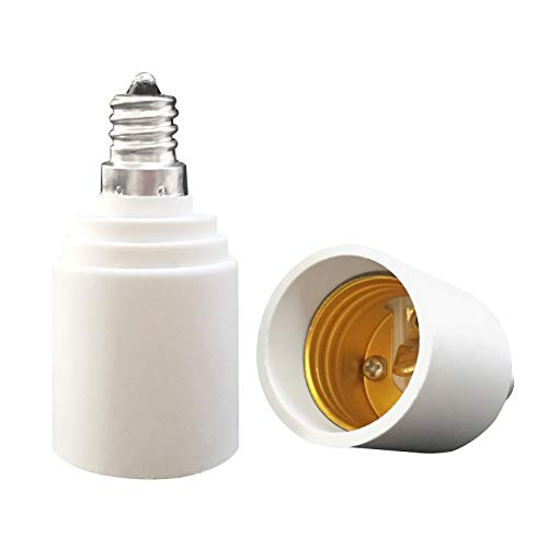YAYZA! 2-Pack E12 to E26 E27 Bulb Base Adapter, Candelabra to Medium Edison Screw Light Socket Converter, Heat Resistant Up to 200℃ No Fire Hazard