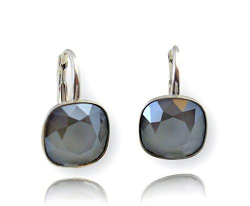 Crystals & Stones *Viele Farben* Silber 925 *SQUARE* - Ohrringe mit Kristallen von Swarovski® - Schön Ohrringe Damen Ohrhänger - Wunderbare Ohrringe mit Schmuckbox (Dark Grey)
