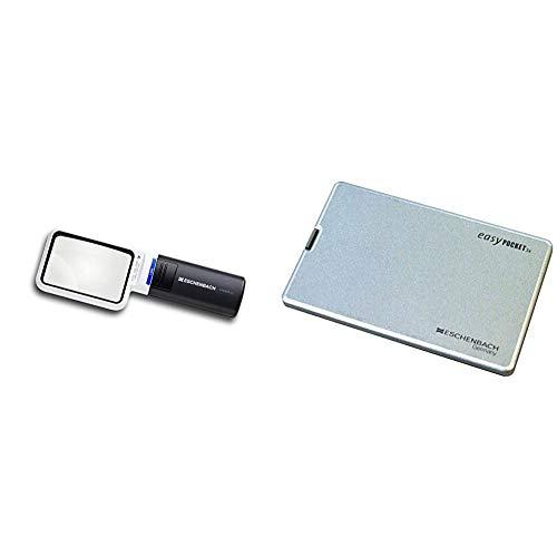 【セット買い】ESCHENBACH(エッシェンバッハ) LEDワイドライトルーペ 3.5倍 50×75mm 1511-3 & ESCHENBACH 携帯用ルーペ イージーポケット 倍率3倍 LEDライト付き シルバー 1521-11