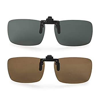yodo Upgraded Polarized Flip up Clip on Sunglasses Over Prescription Glasses for Men Women Driving Fishing Outdoor Sport,2 Pack