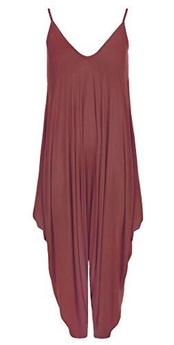 RIDDLED WITH STYLE Vestido Hareems con Cuello en V para Mujer, Todo en uno, para Mujer, Talla Grande Marrón Mono Harem de Vino 48-50