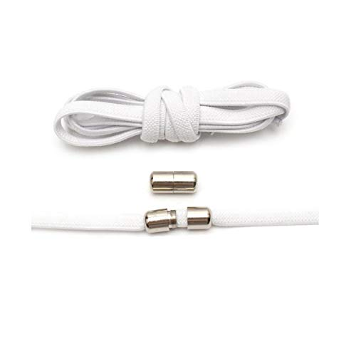 Schnürsenkels 1Pair Flache elastische Locking Schnürsenkel Unisex Sneaker Schuhe Lacess, Weiss, 100cm