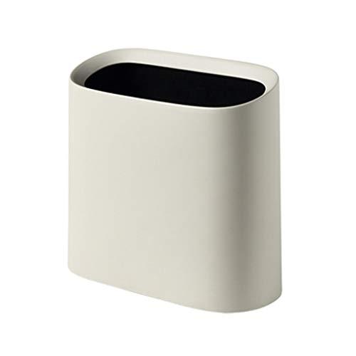 Papelera de Oficina sin Tapa Material de PP ecológico Caja de recolección de Basura de Doble Capa 10L Blanco/Beige DSJSP (Color : Beige)