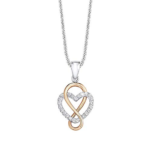 s.Oliver Women's Necklace with Pendant 925 Sterling Silver Partially Gold-Plated with Zirconia 45–508261 transparent one size Golden