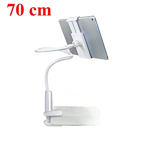 Ajcwhml Flexible tablet stand, 70/100cm long arm bed/desktop clip stand, supports 3.6 to 10.5 inch tablet 70cmwhite