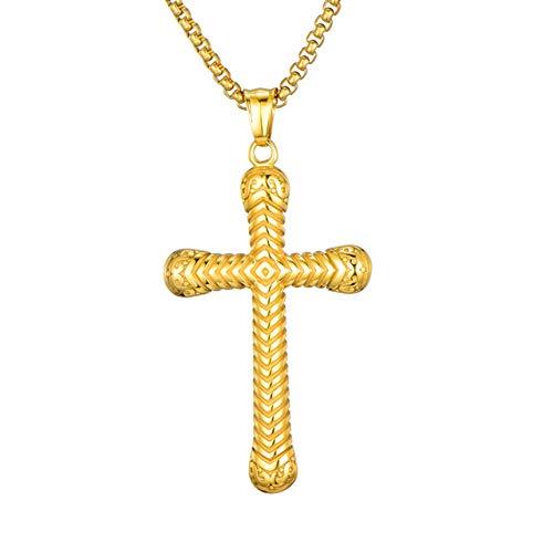 xtszlfj Nuevo Collar con Colgante de Cruz con Rosca de Tornillo, eslabón de Cadena de Acero Inoxidable, Collares de 24 Pulgadas, Regalo para Hombres, joyería Religiosa Cristiana
