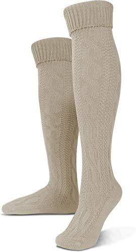 Circle Five Lange Trachtensocken Trachten Strümpfe für Lederhosen Kniebund Socken Natur Farbe Naturmelange Größe 43/46